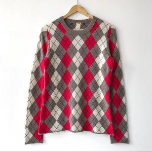 J.Crew 100% Cashmere Argyle Sweater